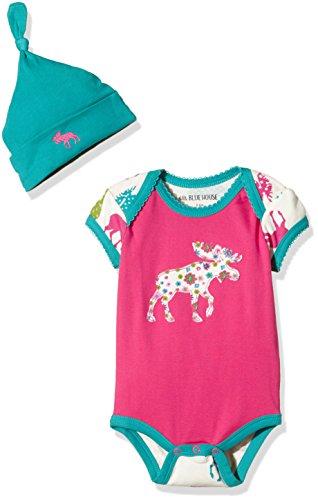 Hatley LBH Infant One Piece - Pattered Moose - Body + Bonnet - Bébé Fille - Rose - 6-12 mois