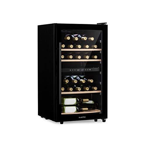 KLARSTEIN Barossa - Refrigerador para vinos, 2 Zonas, Temperatura Regulable 5-18 °C, Estantes de Madera rebatibles, Pantalla LCD, Iluminación Interior LED, Puerta de Vidrio, 34 Botellas, Negro