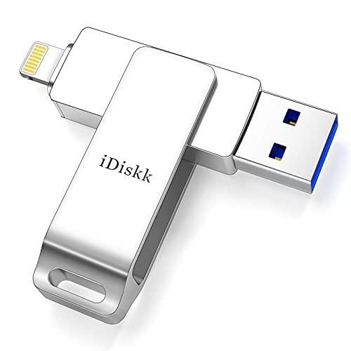 iDiskk MFi-Zertifikat 256 GB iPhone USB-Stick iPhone Photo Stick iPad Speichererweiterung Kompatibel mit iPhone 12/11 / X/XS/XR / 5/6/7/8 Mac PC