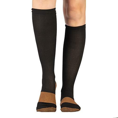 Calze a compressione donna e uomo | Protezione piedi e gamba per fascite plantare, vene varicose, circolazione e supporto | Antibatterica con rame infuso | 1 PAIO | Ideale in aereo e per viaggiare