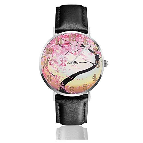 Birds Couple On Branch Kirschblüten Clo Lederuhr Unisex Fashion Armbanduhren Scratch Resist Watch Durable Wear Uhren