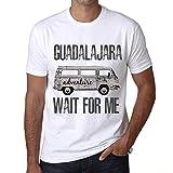 Hombre Camiseta Vintage T-Shirt Gráfico Guadalajara Wait For Me Blanco