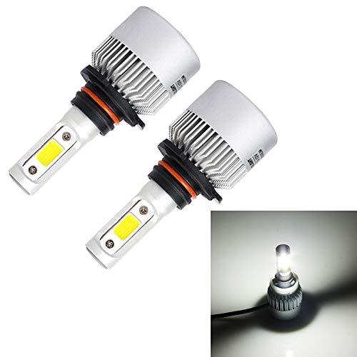 Broccoli21 Lámpara DC 9-32V (Blanco débil), S2 2PCS 9005 18W 1800LM 6500K 2 COB LED Impermeable IP67 Lámparas de Faros del Coche (Color : White Light)