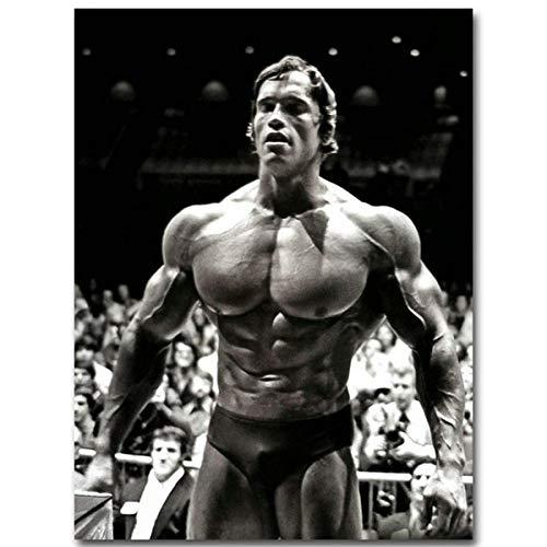 NIMCG Leinwand Malerei Arnold Schwarzenegger Bodybuilding Poster Motivierend Zitat Kunst Fitness Inspirierend Wandkunst Bild 60x90 cm (Kein Rahmen)