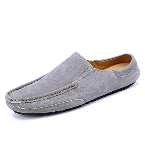 CAOJJ Mocasines de ocio de los hombres con cordones de cuero vegano Moc Toe superior costura conducción zapatos al aire libre bloque talón color sólido, gris, 43 EU