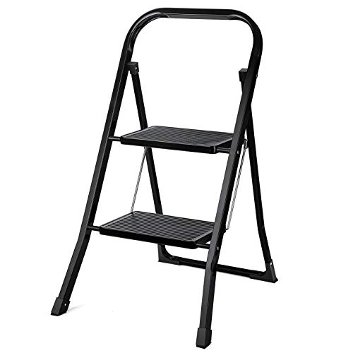 Delxo 2 Step Ladder Folding Step Stool Ladder with Handgrip Anti-Slip Sturdy and Wide Pedal,Convenient and Lightweight for Use Portable Step Stool Steel 330lbs Black (2 feet)