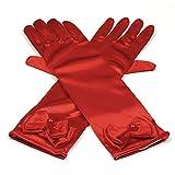 Hijos de raso elastico vestido largo dedo guantes para niñas de fiesta, Rojo