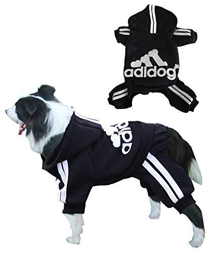 Rdc Pet Adidog Dog Hoodies, Clothes,Fleece Jumpsuit Warm Sweater,4 Legs Cotton Jacket Sweat Shirt Coat for Small Dog Medium Dog Large Dog (Black,8XL)