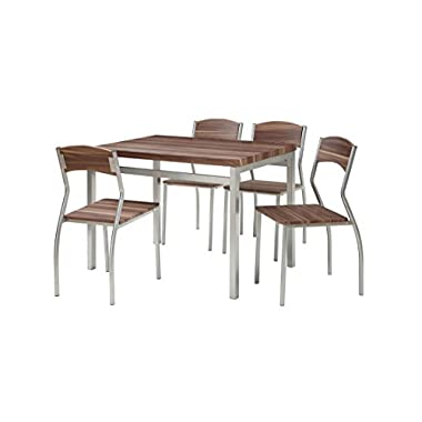 Abington Lane 5-Piece Dining Table Set 4 Chairs - Modern Sleek Dinette (Cedarwood Finish)