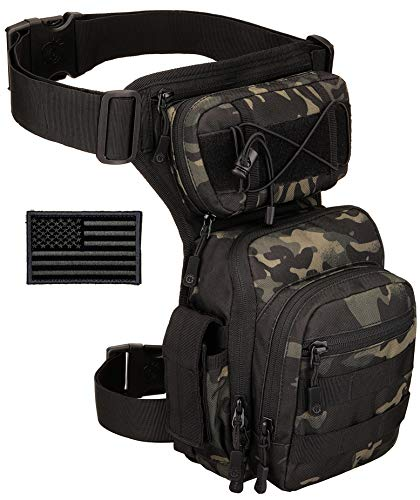 Protector Plus Tactical Drop Leg Bag Military Tool Gear Fanny Thigh Pack Utility Airsoft Motorcycle Cycling Waist Gear Pouch (Patch Included), Black Camo