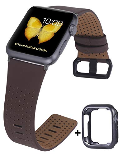 JSGJMY Compatible with Apple Watch Band 38mm 40mm 42mm 44mm Women Men Genuine Leather Replacement Strap for iWatch Series 5 4 3 2 1 (Cognac with Black Clasp, 42mm/44mm M/L)