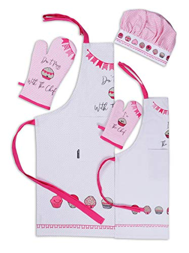 AMOUR INFINI Cup Cakes Baking 5 Pack Kitchen Set  100% Cotton Machine Washable   Set of Womens Apron, Oven Mitt and Kids Apron, Oven Mitt,Chef Hat   Perfect for Children's Kitchen Cooking Gift
