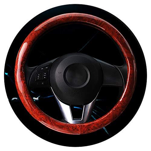 Ablaze Jin Housse de Volant en Cuir synthétique avec Motif Grain de Bois et Garniture chromée/Tresse de Volant de Voiture Diamètre 37 cm à 38 cm, Red Wood Grain