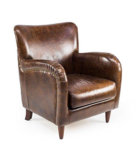 Poltrona in Vera Pelle Alta qualità, Modello Brighton - Finitura Effetto Invecchiato, Stile Vintage. Promo Sconto Online