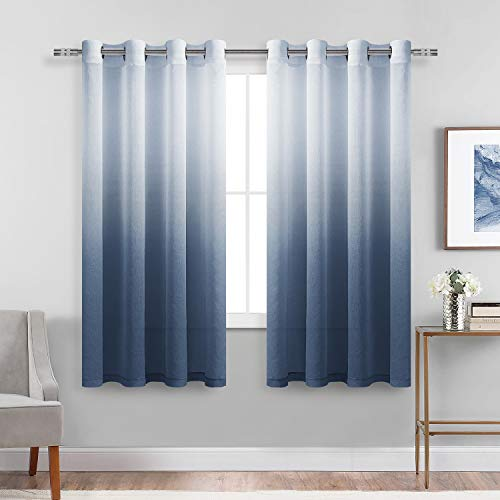 DWCN Faux Linen Ombre Sheer Curtains - Semi Voile Grommet Top Curtains for Bedroom and Living Room, Set of 2 Gradient Window Curtain Panels, 52 x 63 Inch Length, Denim Blue