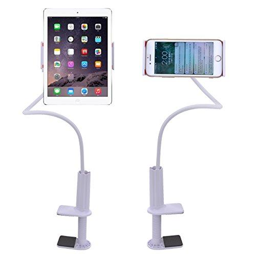 Handy-Halterung, 99,8 cm (39,5 Zoll), Arm und Clip, drehbare Handy-Halterung für Schreibtisch, Tablet, für Handys, iPads & andere Geräte mit 4 - 10,1 Zoll (10,2 - 25,7 cm) (weiß)