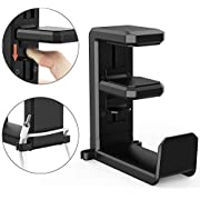 Under Desk Headphone Hanger, MiiKARE Headphone Stand Desk Headphone Hook Labor-Saving Gaming Headset Stand Holder Spring-Loaded Clamp 360 Degree Swivel with Double Cable Clip for All Headphone Sizes