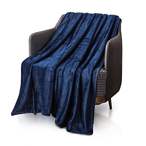 KEPLIN Flanell-Decke, Überwurf, große Tagesdecke (130 x 150 cm) – weich, flauschig, warm, Mikrofaser-Stoff-Design, Bettbezug, Teppich (Marineblau, Einzelbett)