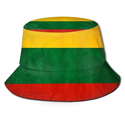 NA Unisex Bucket Sonnenhut Pfau breite Krempe Outdoor Sonnenschutz Walking Fisherman Cap Litauen Flagge