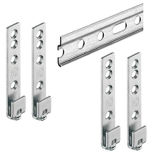 Gedotec Wandschiene Hängeschrank Aufhängeschiene Oberschrank mit Schrankaufhänger zum Einhängen - H10282 | Länge 2000 mm | Stahl verzinkt | 1 Set Schrank-Aufhängung für die Wand-Montage ohne Schrauben