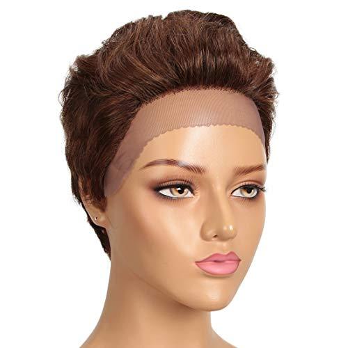 DÉBUT Short Lace Front Wigs Human Hair Wigs Pixie Wigs Brazilian Virgin Hair 9 Inches 79g Medium Brown #4/30 Color