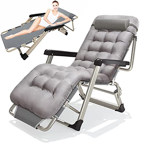 FXBFAG Reclining Chair Zero Gravity Chair Oversize Folding Patio Sun Lounger, Garden Recliner Sun Chairs Sun Bed Beach Chair, with Cotton Cushion & Head Pillow