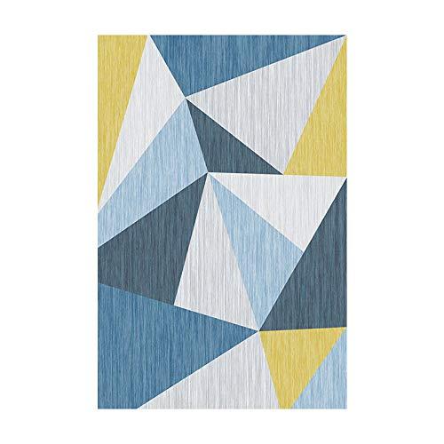 HXJHWB sala de estar con alfombras en el área de pelo corto - Amarillo gris amarillo irregular triángulo costura alfombra simple impresión 3D 40CMx60CM