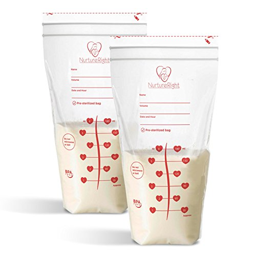 Image of 100 Breastmilk Storage Bags - 6oz / 180ml Pre-Sterilized & BPA-Free Bags, Designed for Even and Faster Thawing with Leak Proof Mechanism by Nurture Right, New & Improved