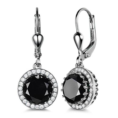 Gulicx, orecchini a pendente da donna in stile vintage, in argento Sterling 925, con pietre in zirconia cubica nera/trasparente, chiusura a monachella e argento, colore: Black, cod. SE040b