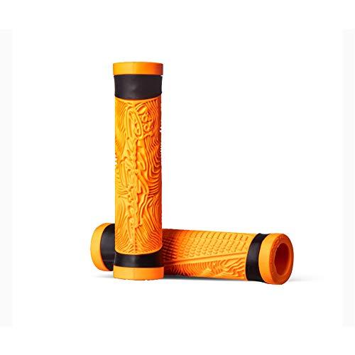 LAIABOR Fahrrad Lenker Griffe für MTB Mountainbike und Roller Scooter Fahrradgriffe Ergonomische Form und Vibrations- / stoßabsorbierende Gummigriffe,Orange