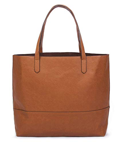 Overbrooke Large Vegan Leather Tote - Womens Slouchy Shoulder, Tan, Size X-Large