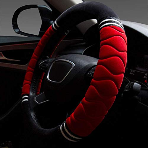 WH Short Plush Stitching Car Steering Wheel Cover Diameter 36-38Cm Winter Durable Handlebar (Size : 36cm)