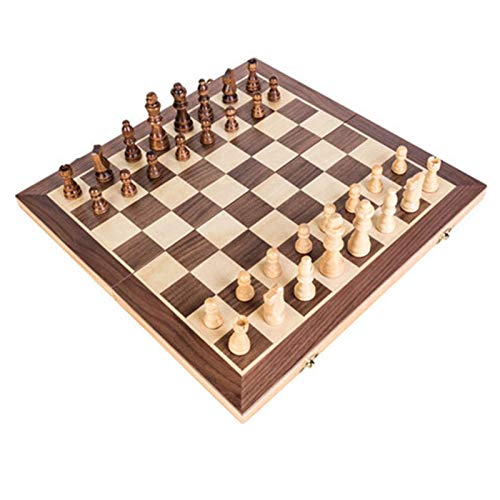 Aocean Wood Chess Set, Portable Game of International Chess, 30 * 30/40 * 40cm*2.5cm Folding Chessboard Chess Game Chess Pieces Set
