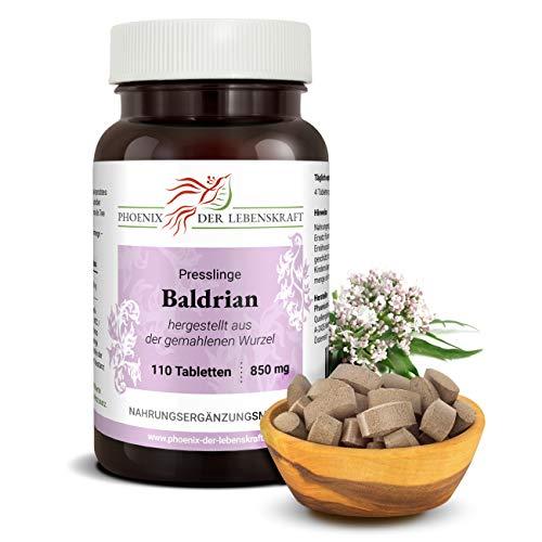 Baldrian Tabletten à 850mg (Valeriana officinalis, Echter Baldrian), 110 Tabletten, Premium Qualität, Hergestellt in Österreich, Tabletten statt Kapseln, Vegan