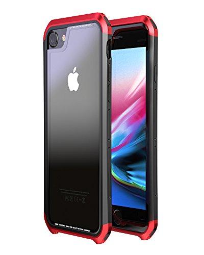 アイフォン SE ケース 第2世代 iPhone SE 2020 ケース アルミ バンパー OURJOY iPhone8 ケース iPhone7 ケース バンパー iPhone6s ケース クリア 強化ガラス背面板 耐衝撃 落下保護 おしゃれ アイフォン7