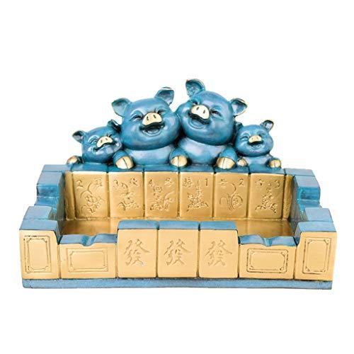 Ceniceros Cenicero de cobre puro Lucky Pig Ash Bandeja de ceniza Mahjong AshTrays de escritorio Fumar la bandeja de ceniza para el hogar Titular de la ceniza de la oficina para el hogar para los fumad