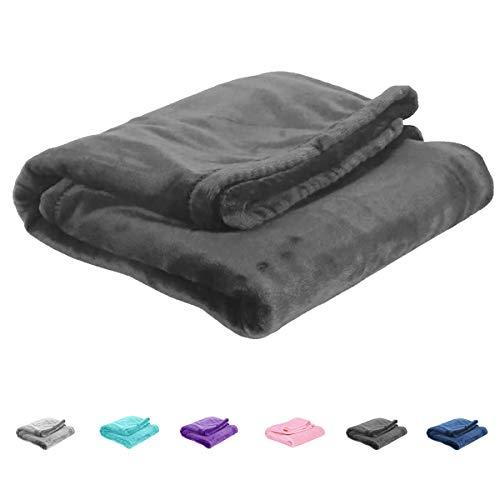 Uozzi Bedding All-Season Dark Gray Flannel Fleece Baby Blanket for Girls & Boys - Ultra Soft Plush Thin Kids Toddler Blanket for Crib, Pram Strollers, Sofa, 100% Microfiber Polyester 27x39