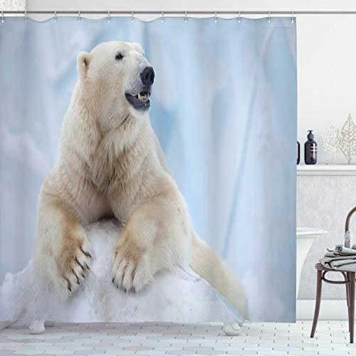 Zoo Duschvorhang,Porträt eines großen weißen Eisbären auf Eiskrallen Antarktis Nord im Freien,Stoff Stoff Badezimmer Dekor Set mit,Hellblau Cremeweiß mit 12 Kunststoffhaken 180x180cm