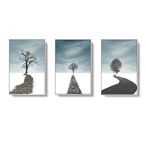 MULMF Poster in Scandinavische stijl print boslandschap slaapkamer canvas schilderij natuurhuis leven wanddecoratie schilderij - 30X40Cmx3 niet ingelijst