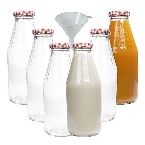 mikken 6 x Glasflasche 500 ml, Flasche mit Schraubverschluss inkl. Trichter