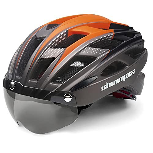 Shinmax Casque de vélo réglable, certifié CE, casque de vélo avec visière de protection amovible, pour homme...
