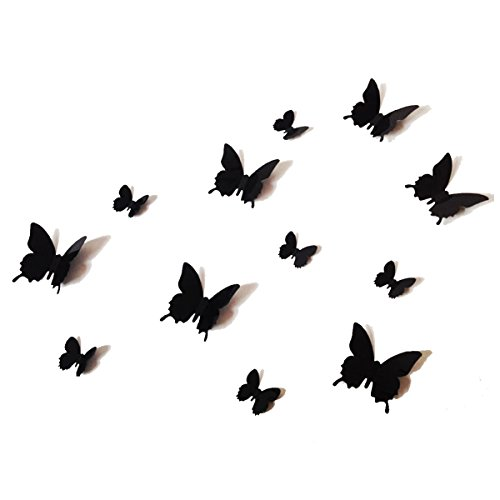 12 Pcs 3D Black Butterfly Purple Stickers Making Stickers Wall Stickers Wall Stickers / Wall Decors / Wall Art / Wall Decorations by POVOS