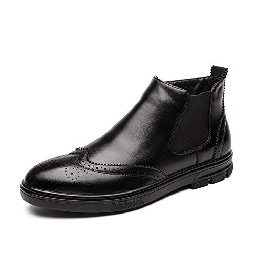 Zapatos cómodos Botas de moda para hombres con cremallera interna deslizamiento en punta redonda de punta de alas medallón banda elástica cepillo apagado pull grifo de cuero sintético suela de goma pl
