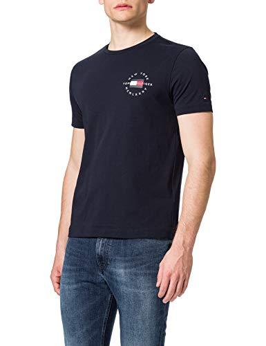 Tommy Hilfiger Herren Circle Chest Corp Tee T-Shirt, Wüstenhimmel, M
