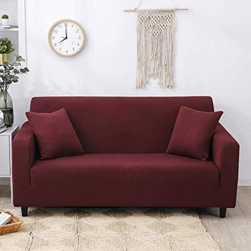 ZHBH Funda elástica para sofá de tela elástica elástica para silla de vino tinto y sofá – Fundas de sofá de poliéster y elastano impresas, fundas protectoras de muebles con 1 funda de almohada