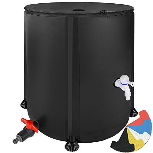 200 Liter Portable Rain Barrel Water Butt - Collapsible Rainwater Collection System Storage Container - Water Collector Barrels Have Two Spigots and Overflow Kit - Includes 25 Garden Labels