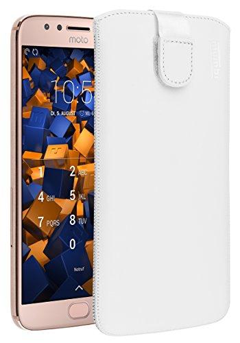 mumbi Echt Ledertasche kompatibel mit Motorola Moto G5S Plus Hülle Leder Tasche Hülle Wallet, Weiss