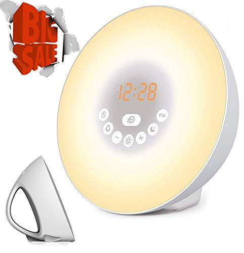 Sunrise Alarm Clock, LED Digital Clock Wake Up Light for Bedrooms with Touch Control 7 Colors Light, 6 Natural Sounds, FM Radio and Snooze/Sunset Simulation Wake Up for Sleep Kids,Adults (White)