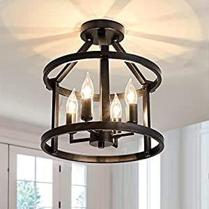 UOFUS Metal Semi Flush Mount Ceiling Light Fixture ,4 Candle Holder Matte Chandelier ,Farmhouse Ceiling Lamp for Dining Room Bedroom Kitchen Hallway Entryway(Black)