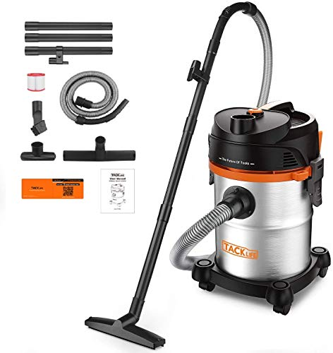 TACKLIFE 6 Gal Stainless Shop Vac,1200 W Multi-Functional Shop Vacuum, 6 Peak HP with Powerful Suction, 3 in 1 Shop Vac, Suitable for Garage, Workshop, Hard Floor, Sofa